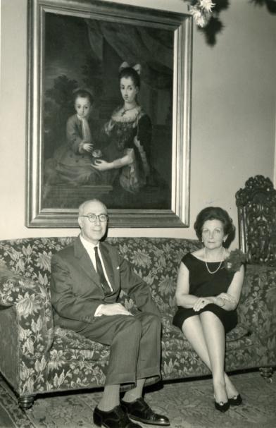 Dr. Miguel Sáenz de Pipaón y Tejada y su esposa Mercedes Mengs Fiscowich. Celebración de sus Bodas de Plata. Madrid, febrero 1964.