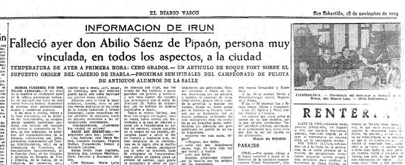 Noticia del fallecimiento del padre del Dr. Sáenz de Pipaón, en el periódico El Diario Vasco. San Sebastián, 18 de noviembre de 1954.